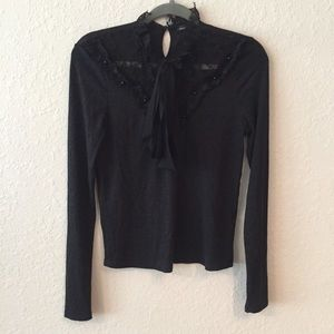 Zara W/B Lace Bow Front Long Sleeve Top